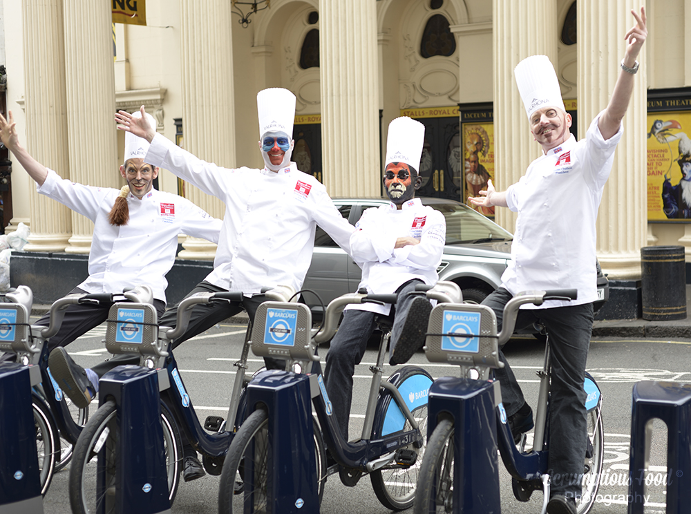 UK pastry team on Boris bikes