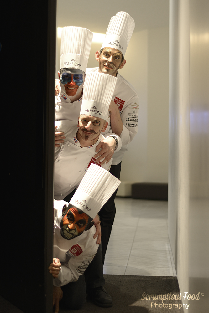 UK pastry team wearing chef hats