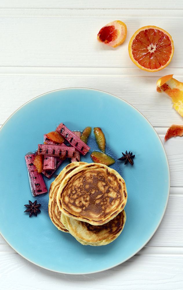 Pancakes with Forced Rhubarb and Orange Jus