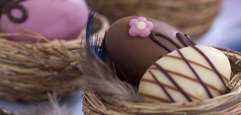 mini chocolate easter eggs in small nests