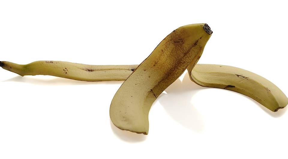 banana skin on white background