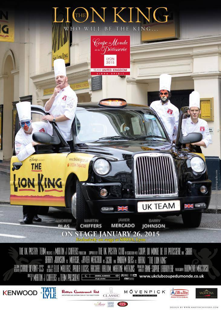 pastry team in London black cab outside theatre