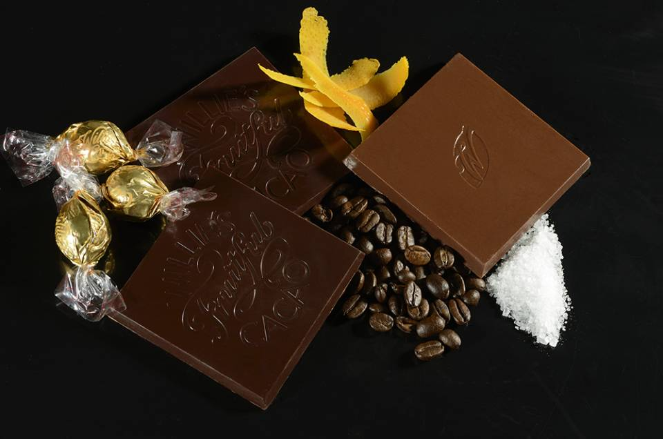 chocolate bars with salt, orange peel, coffee beans