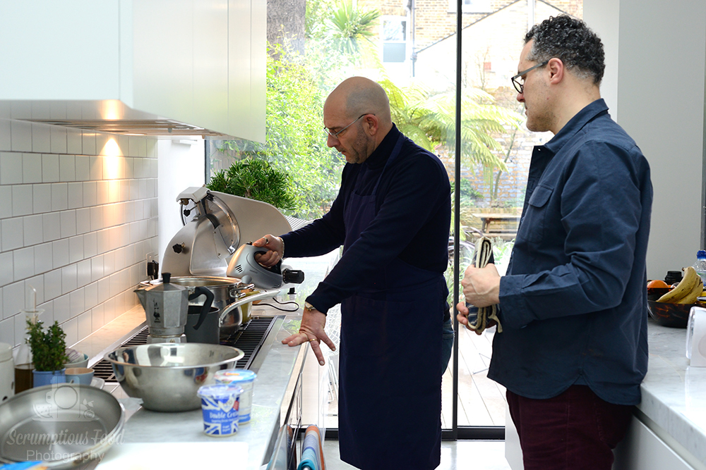 Luca Gaggioli preparing Barbajada in a kitchen