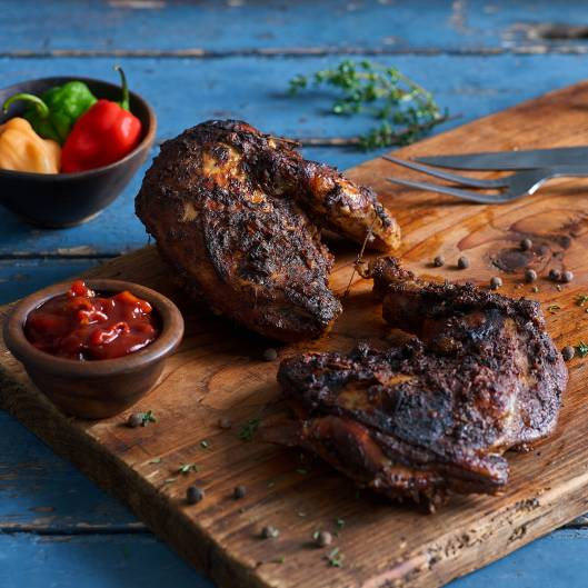 BBQ Chicken on a wooden board