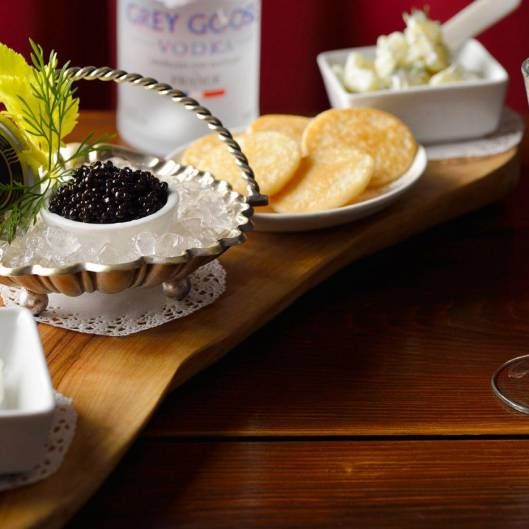 caviar paired with grey goose vodka