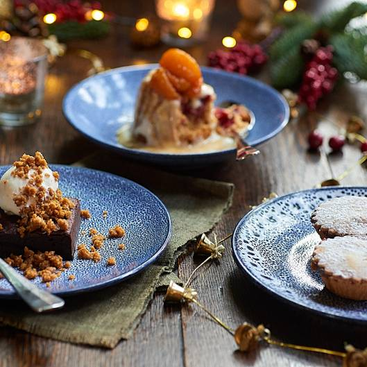 Three Christmas dessert plates