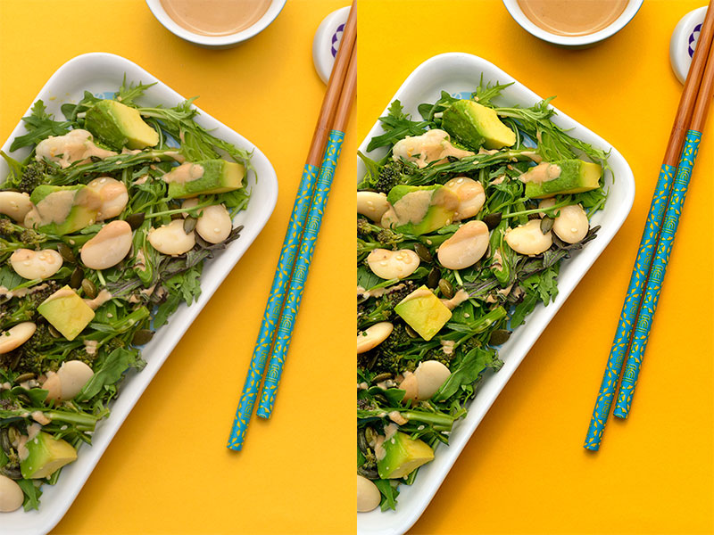 miso salad on yellow background comparison