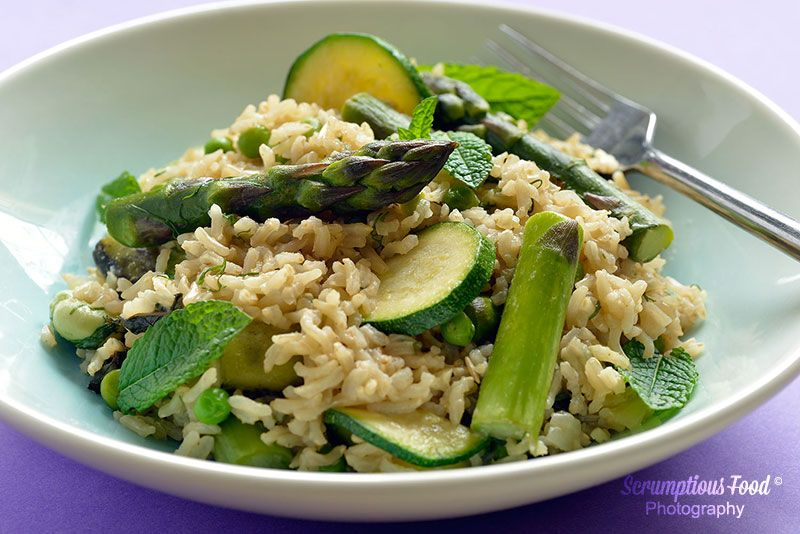 summer rice with asparagus and courgette